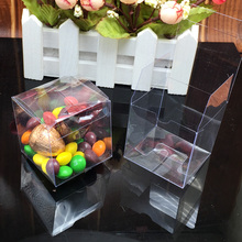 100 Pieces/lot PVC Square Gift Boxes Favor Candy Packing Souvenir Box Transparent Event Chocolate Dessert Bags 5x5x5cm