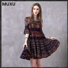 Buy MUXU long sleeve chiffon bohemian dress dress sexy floral womens clothing retro clothes women long sleeve vestidos mujer 2017 for $53.75 in AliExpress store