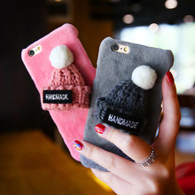 KISSCASE Christmas Cases For iPhone 6 6s Plus 7 7Plus Case Cute Gily Gift Kitted Hat Furry Back Cover For iPhone 6s 7 Plus Capin(China)