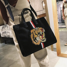 M625 Personality Women Bag Cool Tiger Embroidery Style Velvet Tote Bag Personalized Fashion Shoulder Messenger Bag(China)