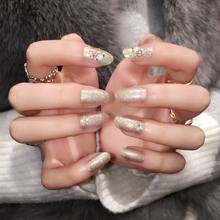 Fashion Clear False Nail Glitter Gold Power Nails Art 3D Rhinestones Decoration Artificial Nail Tips  Z356