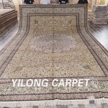 Yilong 12'x18' handmade persian silk rugs oversize high quality popular oriental art silk carpets (SCH050A12x18)