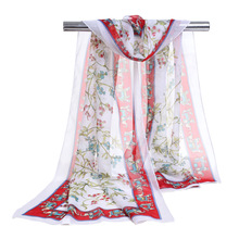New Elephant Printed Scarf Women Noble Brand Luxury Foulard Wrap Shawl Girl Christmas Best Gift Chiffon Silk Scarves(China)