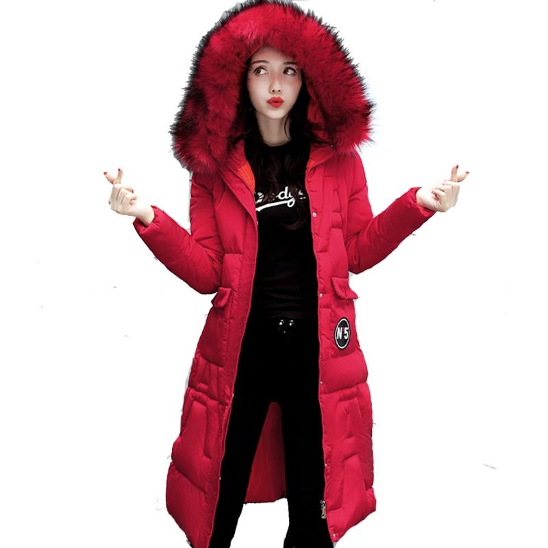 Big fur collar hooded winter jacket women warm cotton padded outerwear jaqueta feminina inverno long female parka coatÎäåæäà è àêñåññóàðû<br><br>