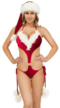 Free shipping Ladies Womens Mrs Clause Sexy Santa Costume Fancy Dress Outfit Christmas Red