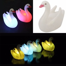 7 Changing Colors Night Light Household LED Night Light Lamp Colorful Swan Shaped Flash Crystal Lamp For Bedroom Home Decor