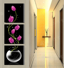 3 panel  Tulip vase painting Printed Painting on canvas Swan Painting wall art Home Decorative Art Vertical Picture W-134
