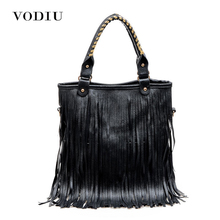 women new leather handbags tote sling bags big over shoulder retro fringe European and American Style solid ladies bolsas casual(China)