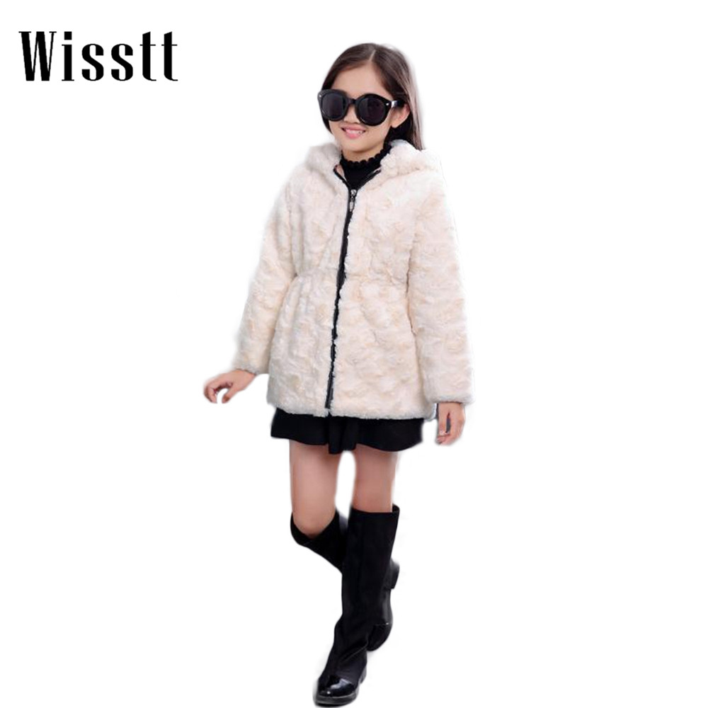 2017 Girls Imitation Fur Cotton Coat And Winter Coat Big Pocket<br>