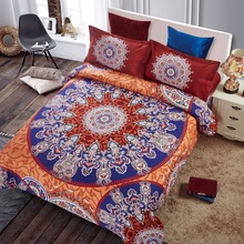 Exotic Cotton Blend Bedding Set Bohemian Style Quilt Cover Set with Pillow Sham Nice Gift for Wedding 4pcs Queen Size
