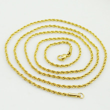 2mm 75cm long necklace for mens rope link chain twisted man's trendy jewellery accessory good quality gold color