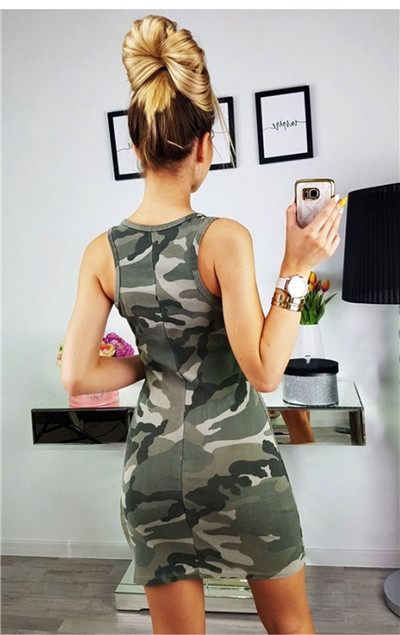 19 New Summer Fashion Women Sexy Tank Dress Slim Casual Camouflage Military O-Neck Print Splice Empire Mini Dresses Vestidos 5