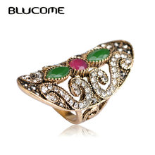 Blucome Turkish Vintage Resin Crystals Big Long Rings For Women Finger Aneis Anel Antique Gold Color Party Women Turkey Rings