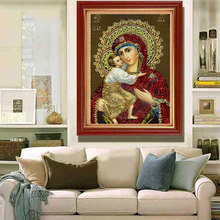 5D DIY Diamond Embroidery Religious Kid Round Crystal Resin Mosaic Needlework Painting Cross Stitch Craft 30x40cm Hot Sa