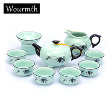 Wourmt Sale! Free Shipping Porcelain Tea Sets,Clear Handpainted Tea Service,ChineseTravel Tea Set,Black Tea Ware High Quality(China)
