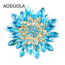 Bloom Flower Gold Color Brooch With Cubic Zirconia brooches For Female Pins Women Wedding Scarf Clip Collar Tips Hijab Pin