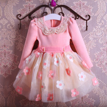 New Autumn Pearls Bow Flowers Girl Party Dress Wedding Birthday Girls Dresses Tutu Style Princess Clothes for children 3-9T(China)