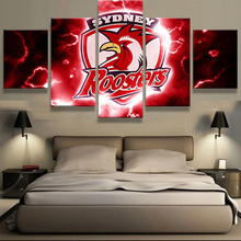 5 Pieces Sydney Roosters Logo Modern Home Wall Decor Painting Canvas Art Hd Print Painting Canvas Wall Picture For Home Decor