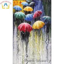 HOME BEAUTY diy diamond painting cross stitch 3d diamond mosaic embroidery kits picture of stones rain color umbrellas AA321(China)