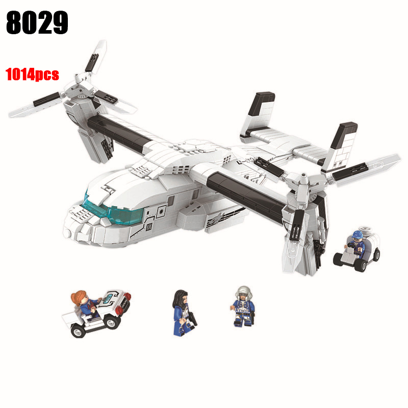 8029 1014pcs Osprey Helicopter Building Blocks Set DIY Educational Bricks Toys for Children Funny Toys <br>