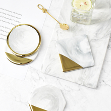 1 pcs Marble Grain Gold Plating Ceramic Coaster Cup Mats Pads Home Decorations Kitchen Tools Desktop Non-slip Luxury Pad(China)