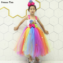 Buy Candy Rainbow Tutu Dress Girl Kids Birthday Party Dress Clothes Children Sweet Lollipop Tutu Dresses Girls Princess Gown for $19.98 in AliExpress store