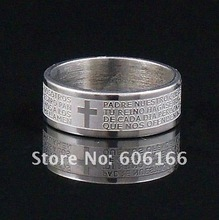 30x 8mm Silver Tone Etched Spanish Bible Lord's Prayer Cross Ring Stainless Steel Rings Fashion Religious Jewelry Wholesale(China)