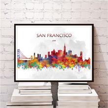 Modern city SAN FRANCISCO poster home living room bedroom cafe bar decor wall sticker print painting Kraft Paper retro poster(China)