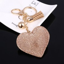 Cute Leather Key Chain for Car Key Ring 6 Colors Heart Pendant Rhinestone Key Cover Women Wholeslae Price Accessories