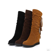 2016 autumn and winter new women's boots in high school boots women's shoes with high-heeled fringeds high boots stud