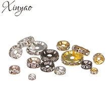 XINYAO 50pcs Gold Silver Color Loose Rhinestone Crystal Beads 6 8 10 12 mm Metal Rondelle Spacer Beads For Diy Jewelry Making(China)