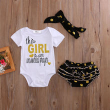 2017 Hot sales Adorable Newborn Baby Girls Clothes Short Sleeve Tops Romper Dot Ruffle Shorts Baby Clothing Outfits Set