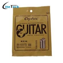 Orphee NX36 Nylon Classical Guitar Strings 6pcs Full Set Replacement (.028-.043) Nylon Core Silver Jacketed Wire Normal Tension