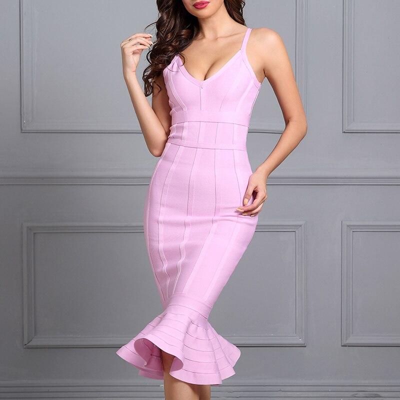 Adyce-2017-Women-Summer-Bandage-Dress-Pink-Spaghetti-Strap-Mermaid-Vestidos-V-Neck-Knee-Length-Celebrity (4)