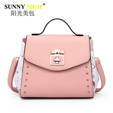 SUNNY SHOP brand women handbag fresh style lady shoulder bags cute pink clutch high quality pu leather messenger bag sac MB02