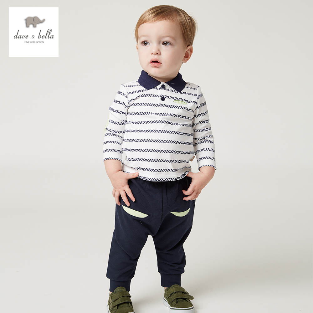 DB5073 dave bella spring baby boys sports clothing sets turn down collar shirt pants casual boys sets<br>
