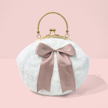 2017 New Arrival Lady Bow Fur Sweet Circular Plush Lace Kawaii Chain Metal Frame Crossbody Women Girl Shoulder Tote Shell Bags