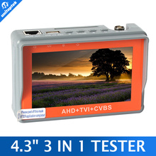 CCTV Tester 3 In 1 For AHD, TVI & CVBS Analog Camera Security Monitor 1080P With 4.3-Inch LCD Screen 5V 2A,12V 1A Surveillance