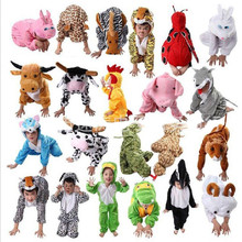 Children Kids Cartoon Animal Costumes Cosplay Clothing Dinosaur Tiger Elephant Christmas present Animals Jumpsuit for Boy Girl(China)