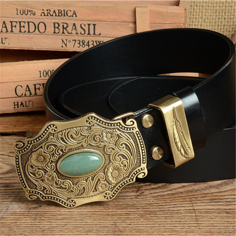Luxury Vintage Brass Belt Buckle Men Belt TOP Quality Leather Belt Men Strap Ceinture Homme Jeans Cinturon Mujer Riem MBT0371