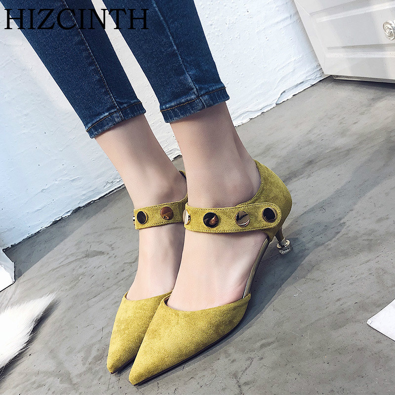 HIZCINTH High Heels Shoes Woman Sexy Thin Heels Metal Buckle Womens Single Shoes Mary Janes Pumps 2018 Spring Suede Sandals<br>