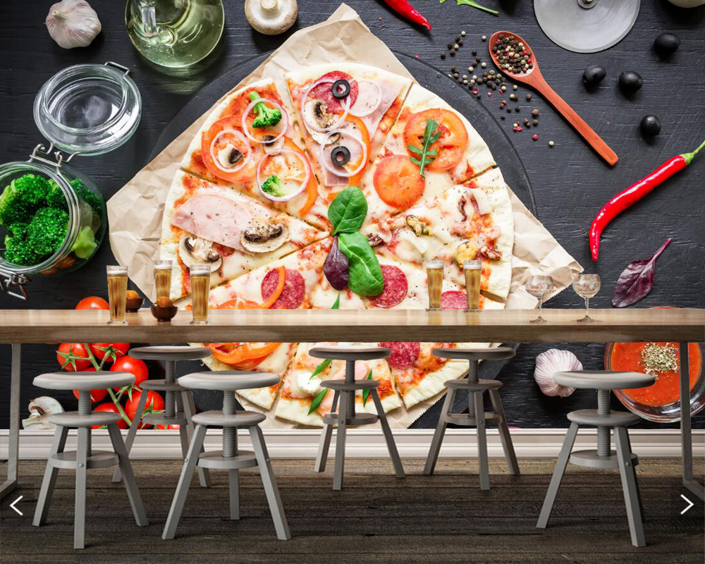 Custom Pizza Tomatoes Sausag Food photo wallpaper living room bar KTV background living room kitchen 3d mural papel de parede<br>