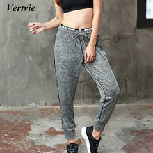 Vertvie Sports Yoga Leggings Pants Black Gray Patchwork Drawstring Loose Tied Feet Sports Tights Pants Women Gym Fitness Workout