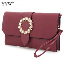 Brand Fashion Female Clutches Bag Burgundy PU Leather Women Handbags Blue Evening Party Bag Pink Crossbody Bags Women Small Bag(China)