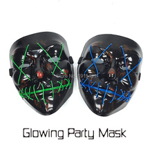 Event Party Supplies 20Pieces EL Cable Rope Terrifying Mask Holiday Lights Led Tube Crazy Joker Mask as Luminaria Stage Lights(China)