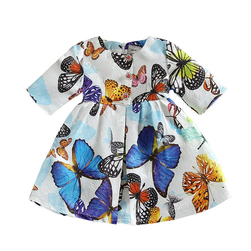 butterfly Pattern girl dress designer girls Christmas dresses print girl evening party dress<br><br>Aliexpress