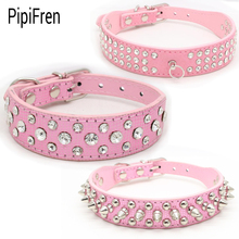 PipiFren Pink Dogs Collars Cat Spiked Rhinestone For Pet Puppy Collar Accessories Chihuahua Necklace halsband hond collier chien(China)