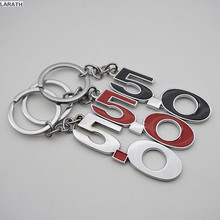 100pcs 5.0 Keychain Decorations Chrome Metal Black Silver Red 5.0 Key Rings Key Chain for Fiesta Kuga eco sport Exploror Mustang
