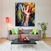 Sexy Blonde Girl Nude Woman Painting Palette Knife Painting Printed on Canvas for Bedroom Hotel Wall Decoration