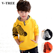 V-TREE 2016 winter warm thicken boys coat jacket hoodies outerwear teenage children hoody designer coat boy jackets kids clothes(China)